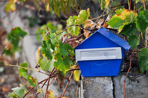 Blue, Letter Box, Contrast, Mailbox, Post, Old, Metal