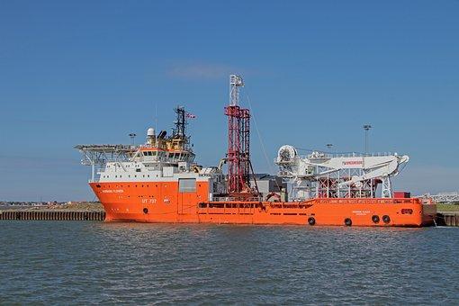 Ship, Offshore Supply Ship, Port, Esbjerg, Denmark