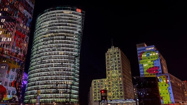 Night Photograph, Long Exposure, Skyscrapers