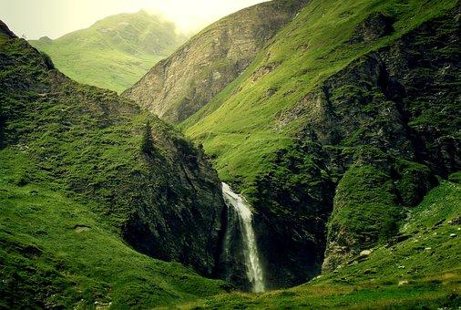 Mountains, Alpine, Waterfall, Green, Light, Sun