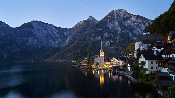 Hallstatt, Church, Lake, Austria