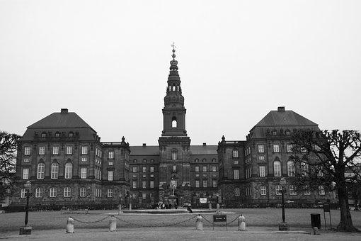 Christiansborg, Castle, Black White, Denmark