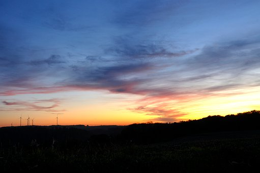 Afterglow, Panorama, View, Rural, Windräder, Mood
