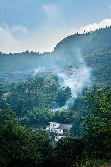 Mountain, Cloud, Forest, Natural, Smoke, Hills