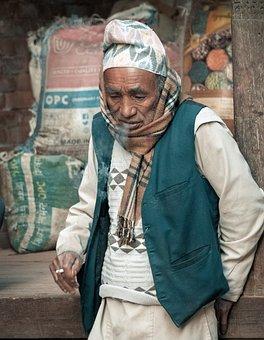 Nepal, Old Man, Smokes, Think