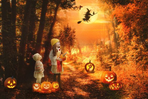 Halloween, Scene, Spooky, Witch, Haunted Forest