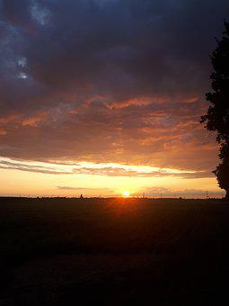 Sunset, Cologne, Clouds, Blue, Orange, Yellow, Panorama
