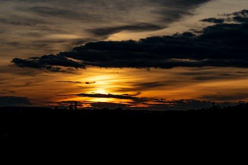 Sunset, Golden October, Mood, Orange, Sun, Clouds