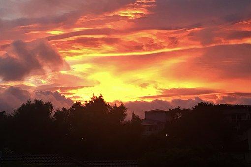 Sunset, Western, Skies, Clouds, Sun, Set, Sky, Outdoor