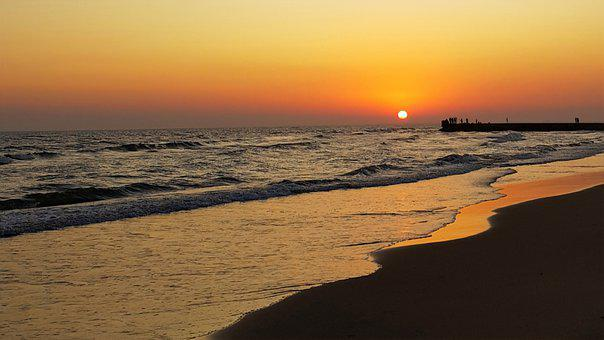 Sea, Beach, Beautiful Sunset, Lungomare Pontino