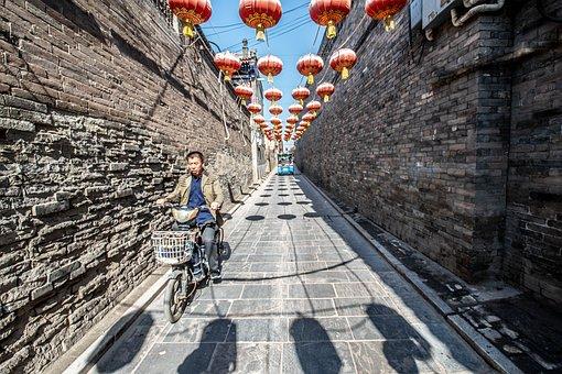 Old Town, Alley, Bicycle, Bike, Lanterns