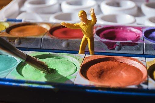 Miniature, Color, Malkasten, Brush