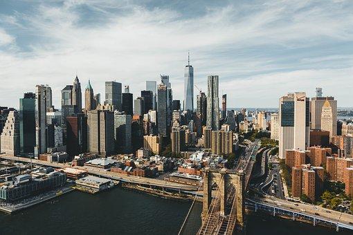 Skyline, New York, Bridge, Water, Skyscraper, Building