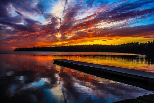 Clear Lake, Sunset, National Park, Canada, Nature, Lake