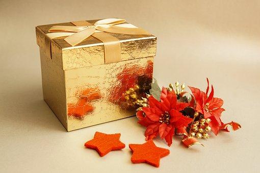 Christmas, Gift, Cardboard, Gold, Loop, Still Life