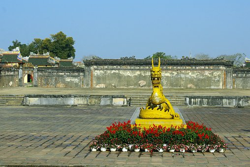 Viet Nam, Booed, Palace, Imperial, Dragon, Statue