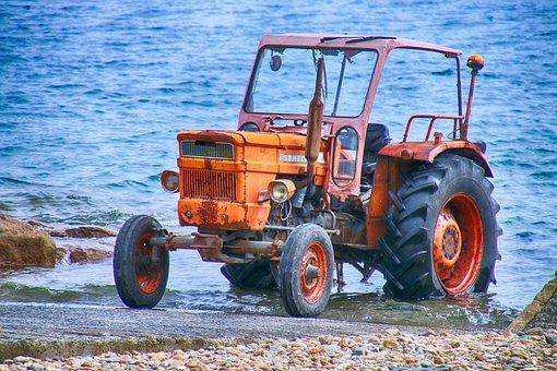 Tractor, Marin, Sea, Shore, Vehicle, Beach, Water