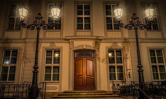 Night, Evening, Lanterns, Lamps, Light, Building, House