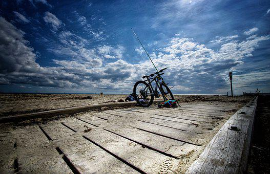 Boardwalk, Bike, Activity, Sun, Blue, Ocean, Bicycle