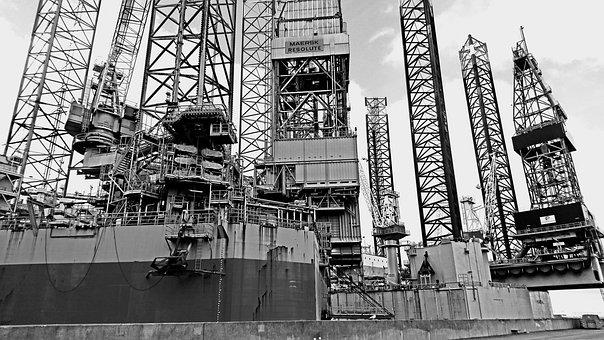 Drilling Rig, Port, Esbjerg, Offshore, Oil, Denmark