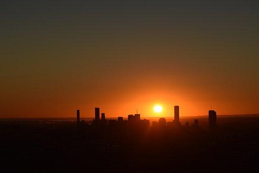 Brisbane, City, Sunrise, Mt Coot-tha, Silloutte