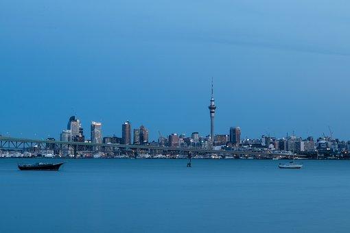New Zealand, Auckland, City, Skyline, Sunset