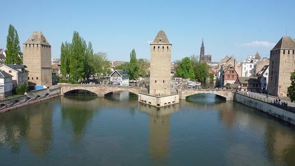 Strasbourg, Towers, Alsace, Building, Bridge, France
