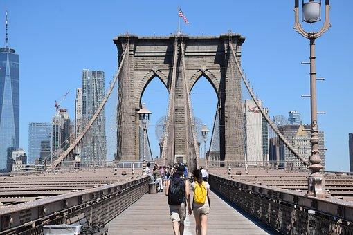 Brooklyn Bridge, In New York City, Manhattan, Brooklyn