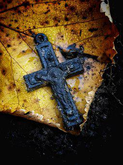 Crucifix, Religion, Religious, Autumn, Nature, Detail