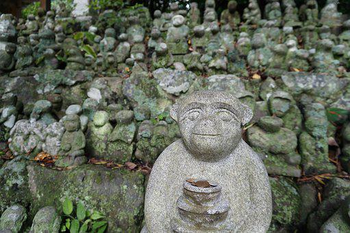 Monkey, Stone Statues, Shrine, Japan, Iki, Conventional