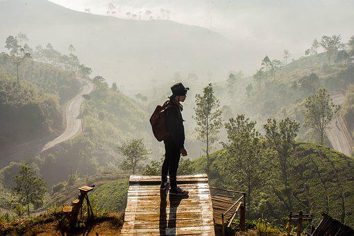 Man, View, Bandung, Indonesia, Sunrise, Landscape
