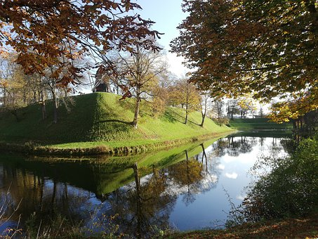 The Citadel, Mill, Copenhagen, Autumn, Colors, Moat