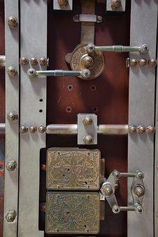 Lock, Padlock, Vault, Safe, Old, Metal, Gate, Steel