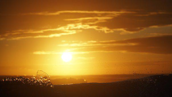 Sunset, Sol, Atardecer, Mar, Sea, Clouds, Olas Marinas