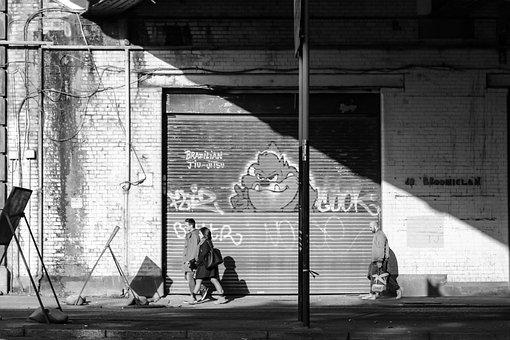 People, Walking, City, Street, Graffiti, Monochrome