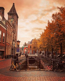 Utrecht, Janskerkhof, Autumn, Fall Colors, Canal