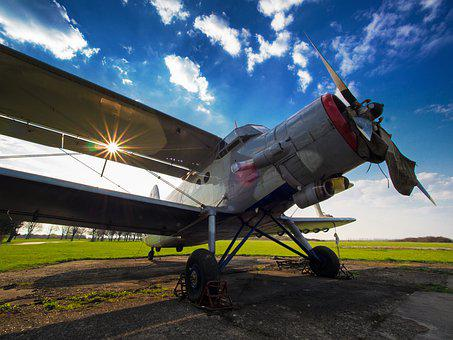 Plane, Sun, Sky, Old, Airport, Airplane, Nature