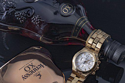 Cognac, Clock, Alcohol, Ornament, Bottles, Colorful
