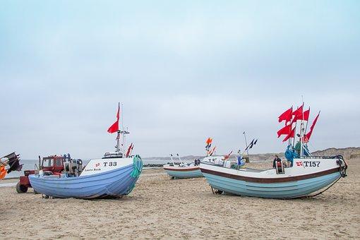 West Coast, Jutland, Fishing Boats, Beach, Wooden Ships