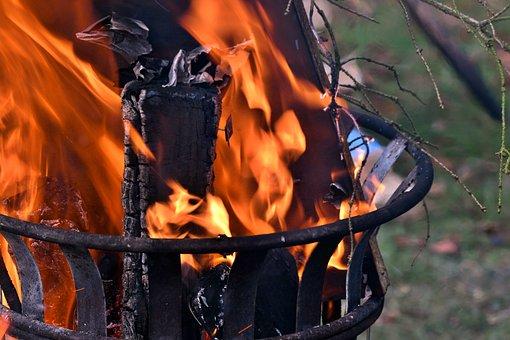 Firepit, Flames, Fire, Wood, Glow, Heat, Brand