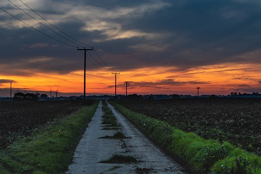 Sunset, Telegraph Poles, Pathway, Clouds, Rural, Nature