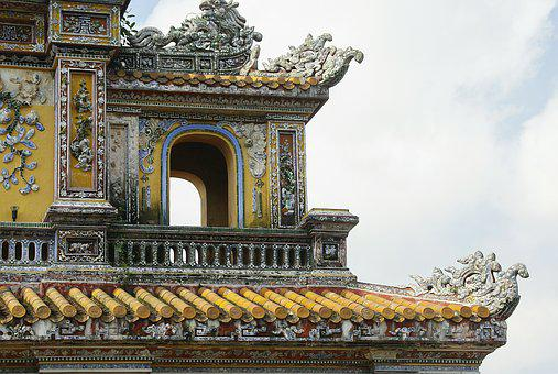 Viet Nam, Palace, Imperial, Pavilion, Ornament, Ceramic