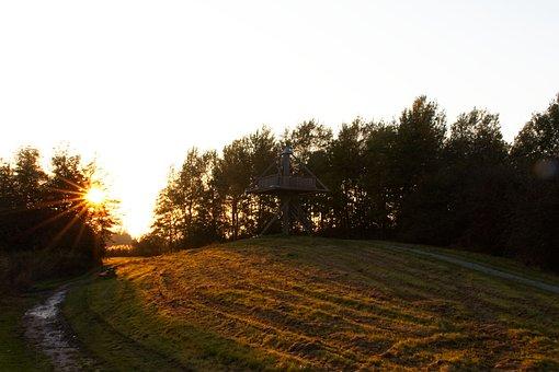 Setting Sun, Autumn, Park, Lookout Tower, Landscape