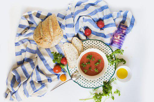 Soup, Gazpacho, Bread, Tomatoes, Vacation, Appetizer