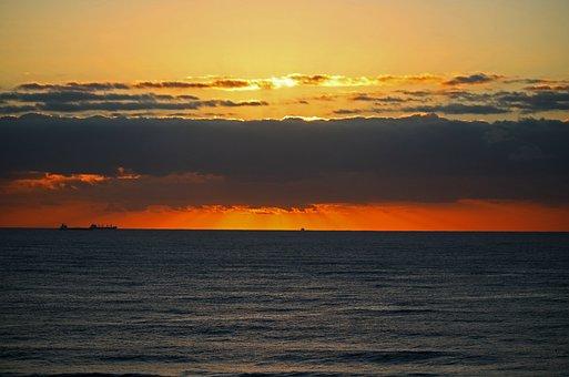 Sunset Over Sea, Sunset, Clouds, Sea, Ocean, Water
