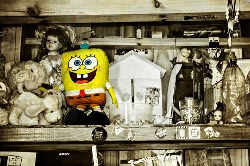 Sponge Bob, Teddy, Snowman, Shelf, Toy, Wrist, Yellow