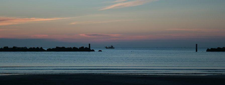 Italy, Adriatic, Sea, Sunrise, Beach, Sun, Tourism