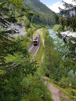 Railway, Train, Mountains, Gorge, River, Graubünden