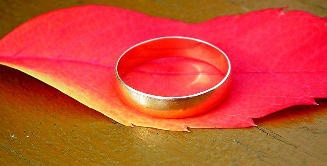 Wedding Ring, Gold, Leaf, Colored, Autumn, Love
