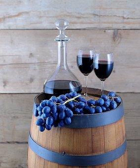 Grapes, Wine Barrel, Carafe, Glasses